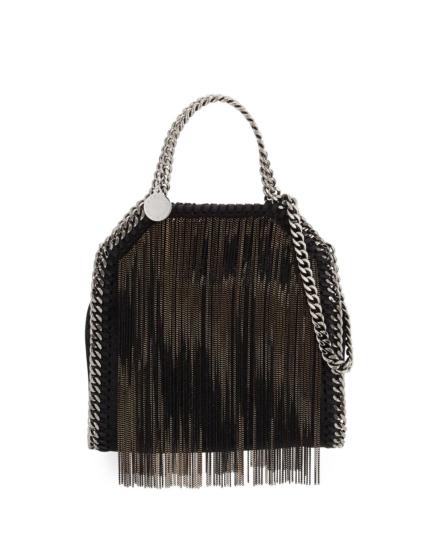stella mccartney falabella tiny metal fringe tote bag in black lyst. Black Bedroom Furniture Sets. Home Design Ideas