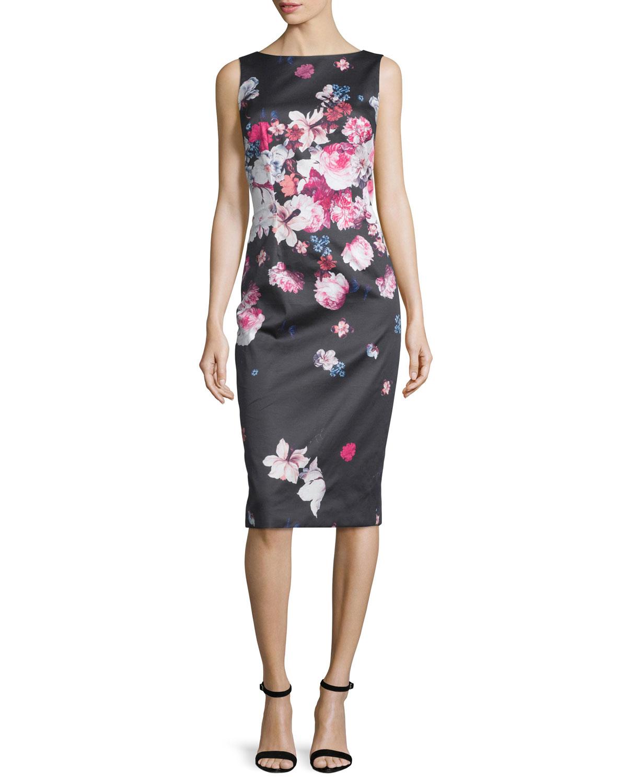 Lyst David Meister Sleeveless Floral Print Midi Sheath Dress