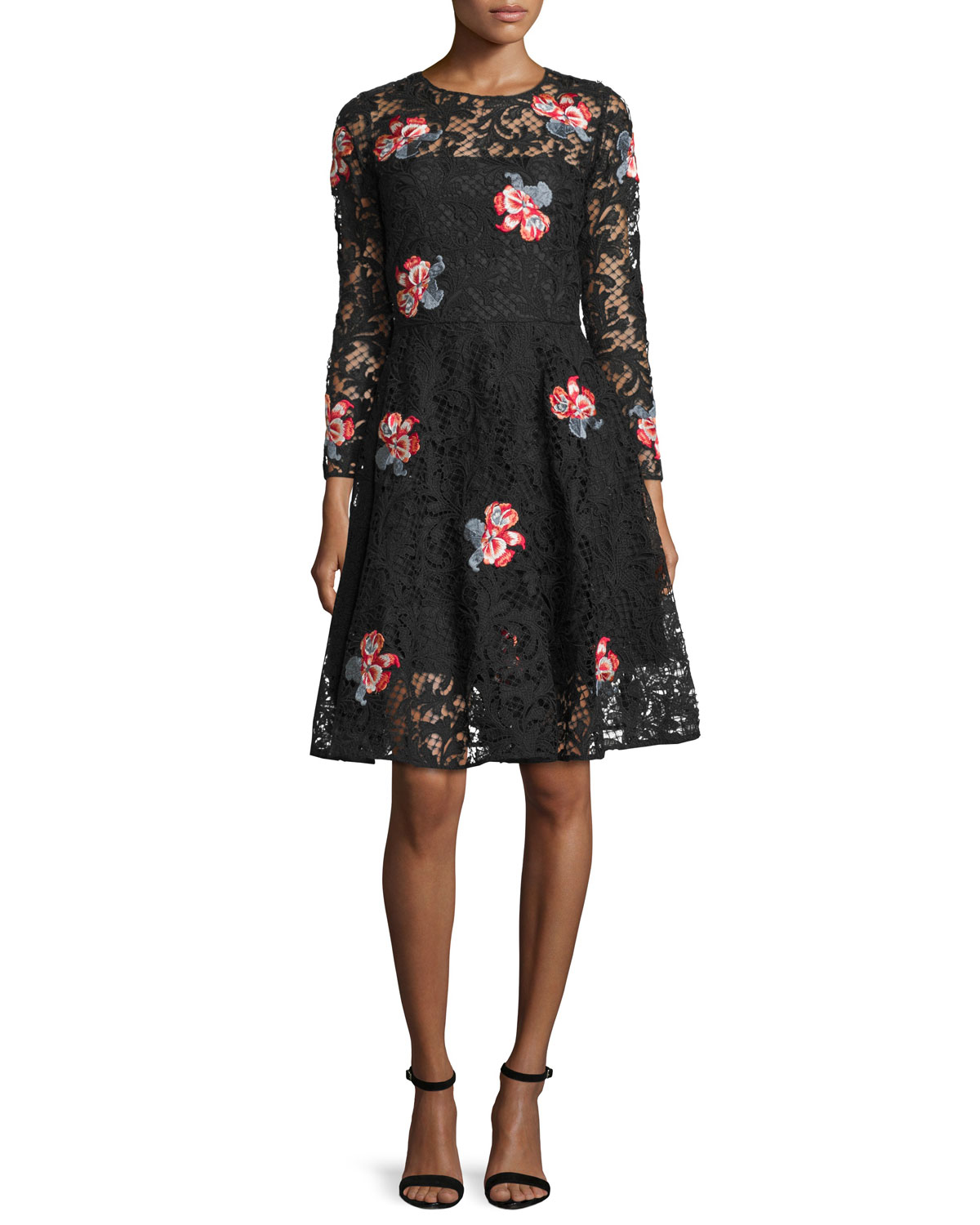 Sachin babi floral embroidered lace cocktail dress in