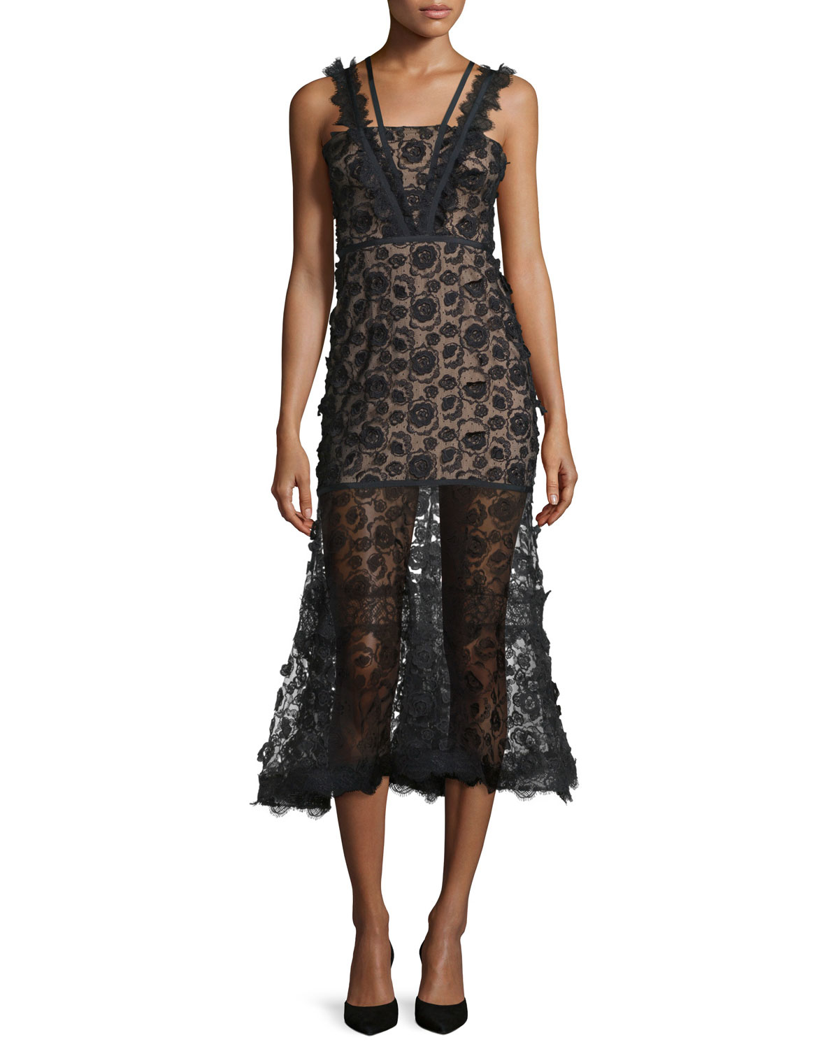 Alexis lorelle sleeveless embroidered lace crepe midi dress in black