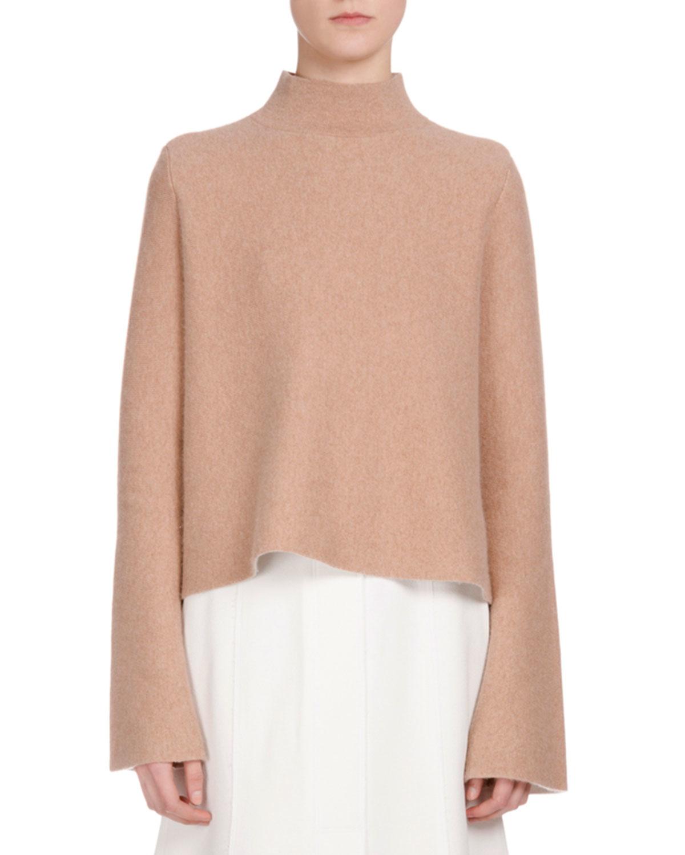 48dbd7e628fea Lyst - Proenza Schouler Long-sleeve Mock-neck Cropped Sweater in Natural