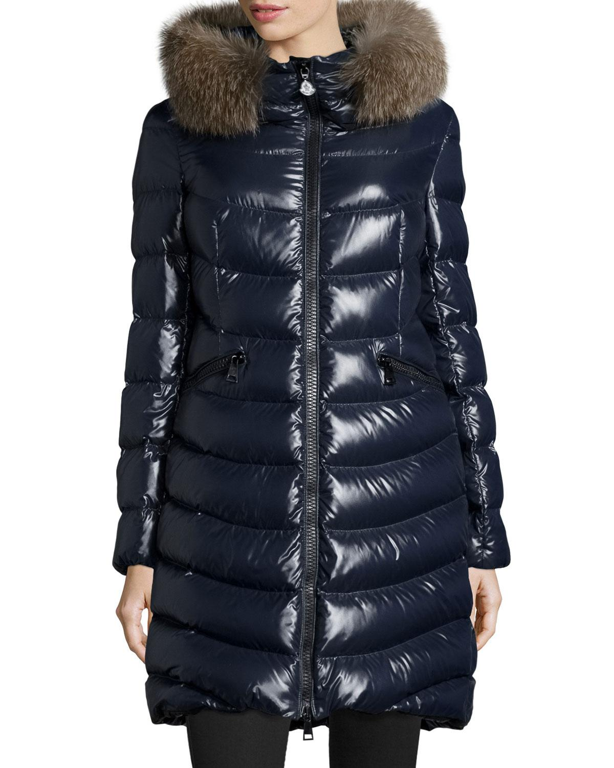 moncler aphia hooded puffer jacket in blue lyst. Black Bedroom Furniture Sets. Home Design Ideas