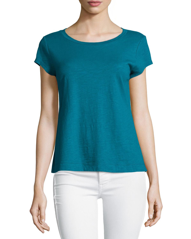 Lyst eileen fisher short sleeve organic cotton top in blue for Eileen fisher organic cotton t shirt