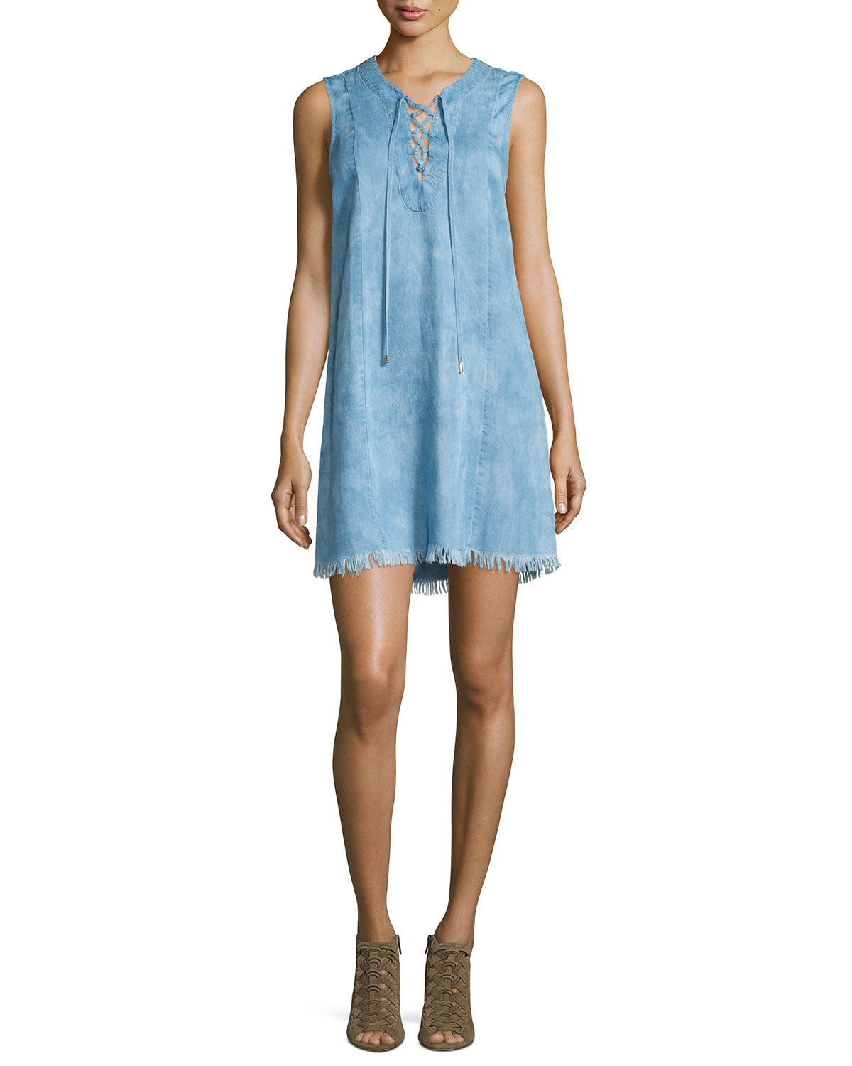 7 for all mankind sleeveless lace up denim dress in blue for Chambray 7 s