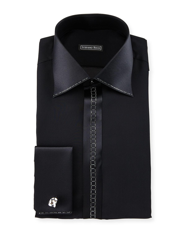 Stefano ricci crystal placket silk french cuff tuxedo for Tuxedo shirt black buttons