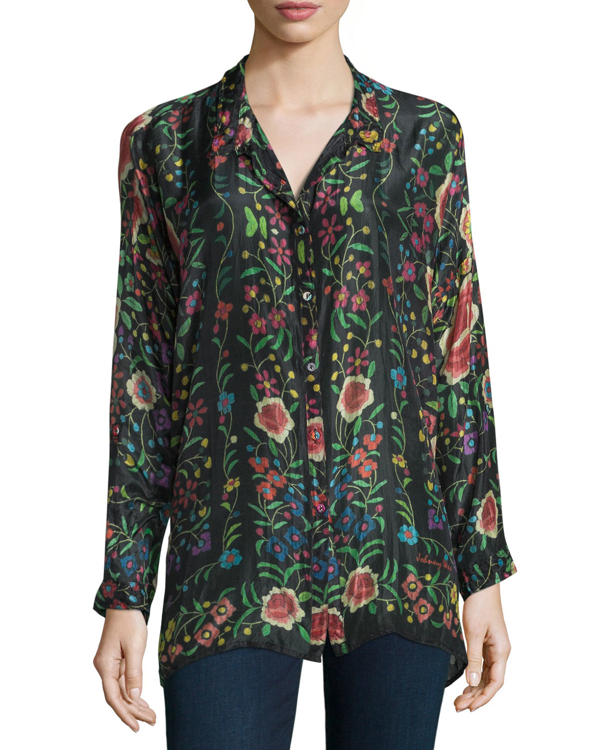 Johnny Was Emby Button Front Floral Print Silk Blouse In