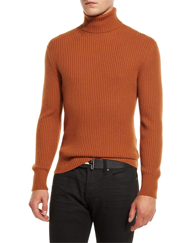 tom ford ribbed turtleneck sweater in brown for men lyst. Black Bedroom Furniture Sets. Home Design Ideas