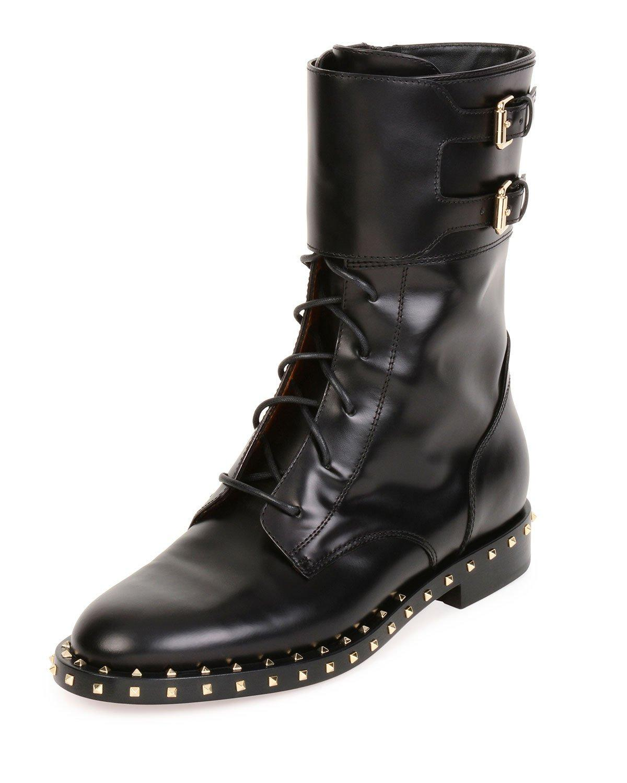 valentino soul stud rockstud leather moto boot in black lyst