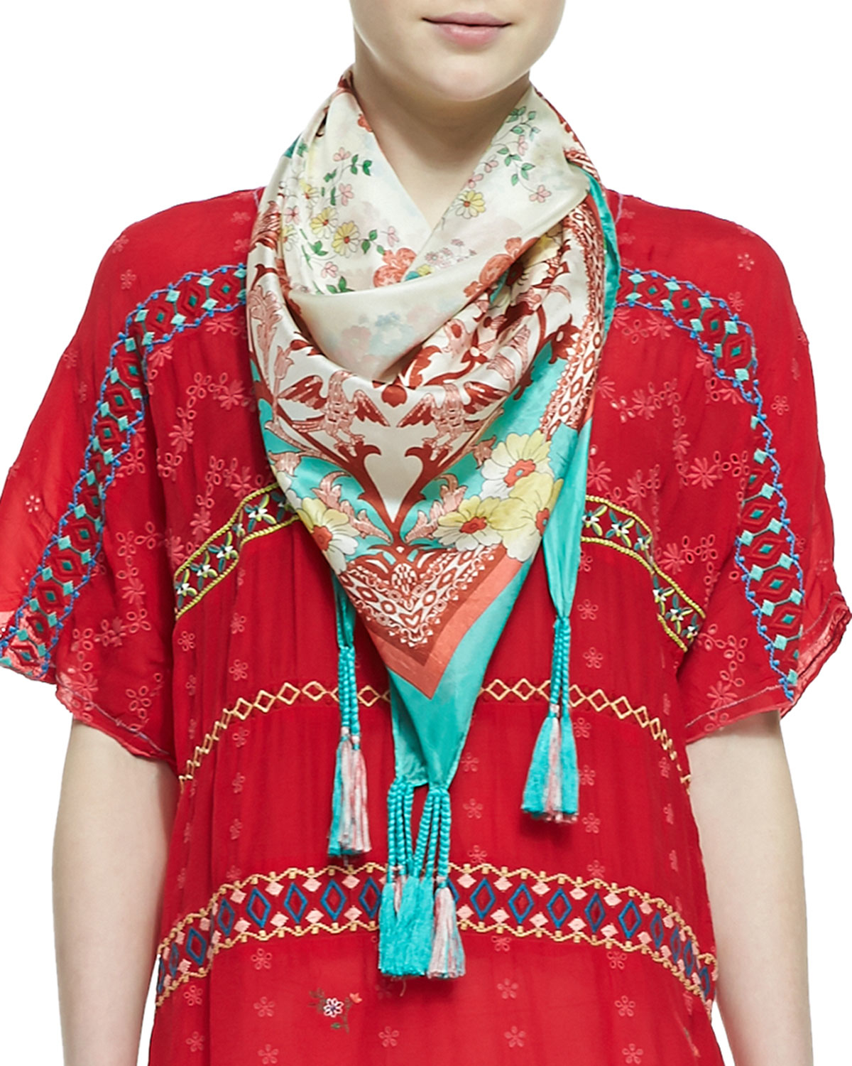 johnny was embroidered printed silk georgette scarf in