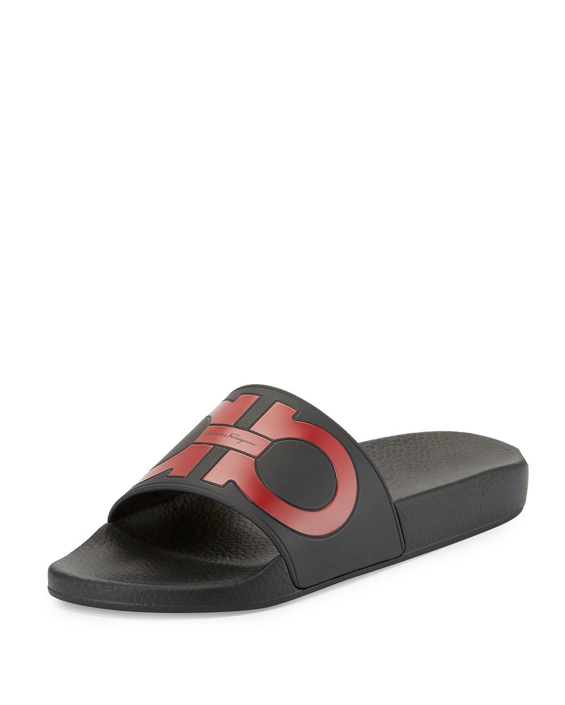 salvatore ferragamo groove logo slide black nero gold sandals mens size