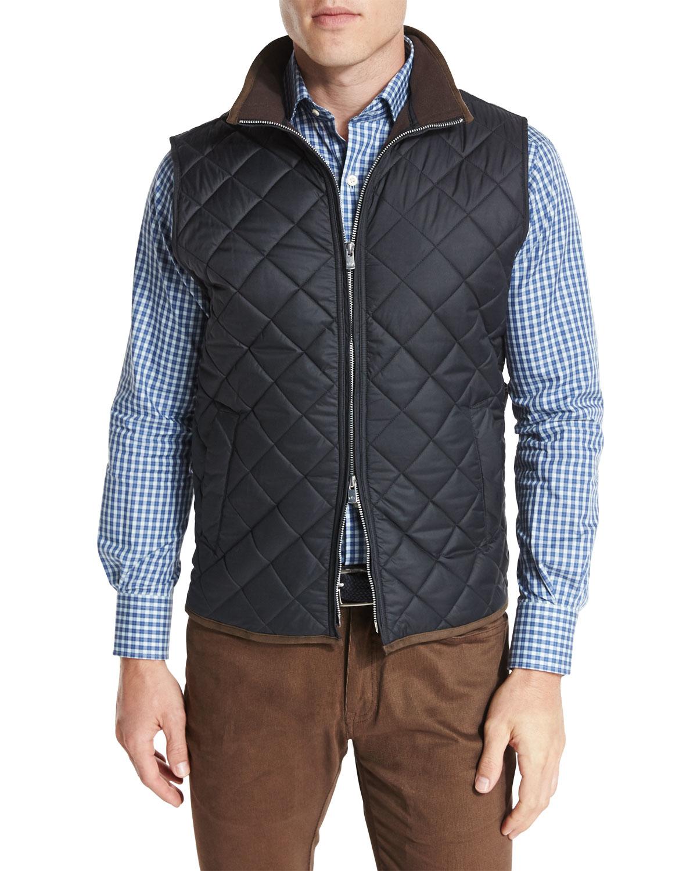 Peter Millar Hudson Lightweight Quilted Vest In Black For