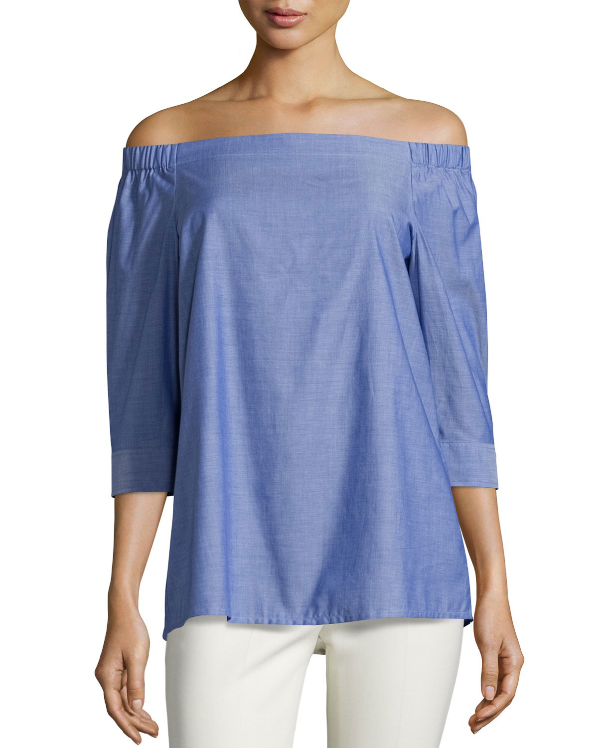 3a978259e4f5 Lyst - Theory Joscla Icon Off-the-shoulder Top in Blue