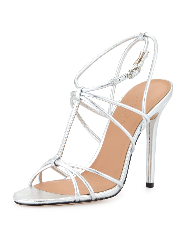 Halston Anita Strappy Metallic Leather Sandals in Metallic ...