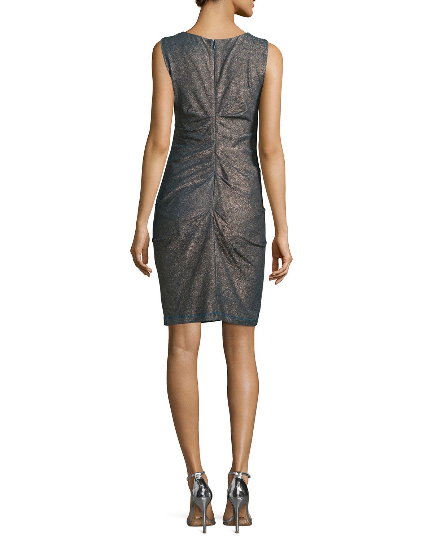 Lyst nicole miller sleeveless metallic sheath dress in gray for Neiman marcus dresses for wedding guest