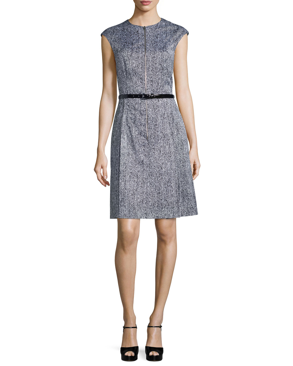 michael kors cap sleeve belted a line dress in multicolor