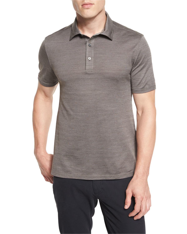Ermenegildo zegna herringbone polo shirt in gray for men for Zegna polo shirts sale