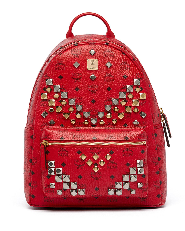 mcm stark men 39 s stud medium backpack in multicolor ruby red save 20 lyst. Black Bedroom Furniture Sets. Home Design Ideas