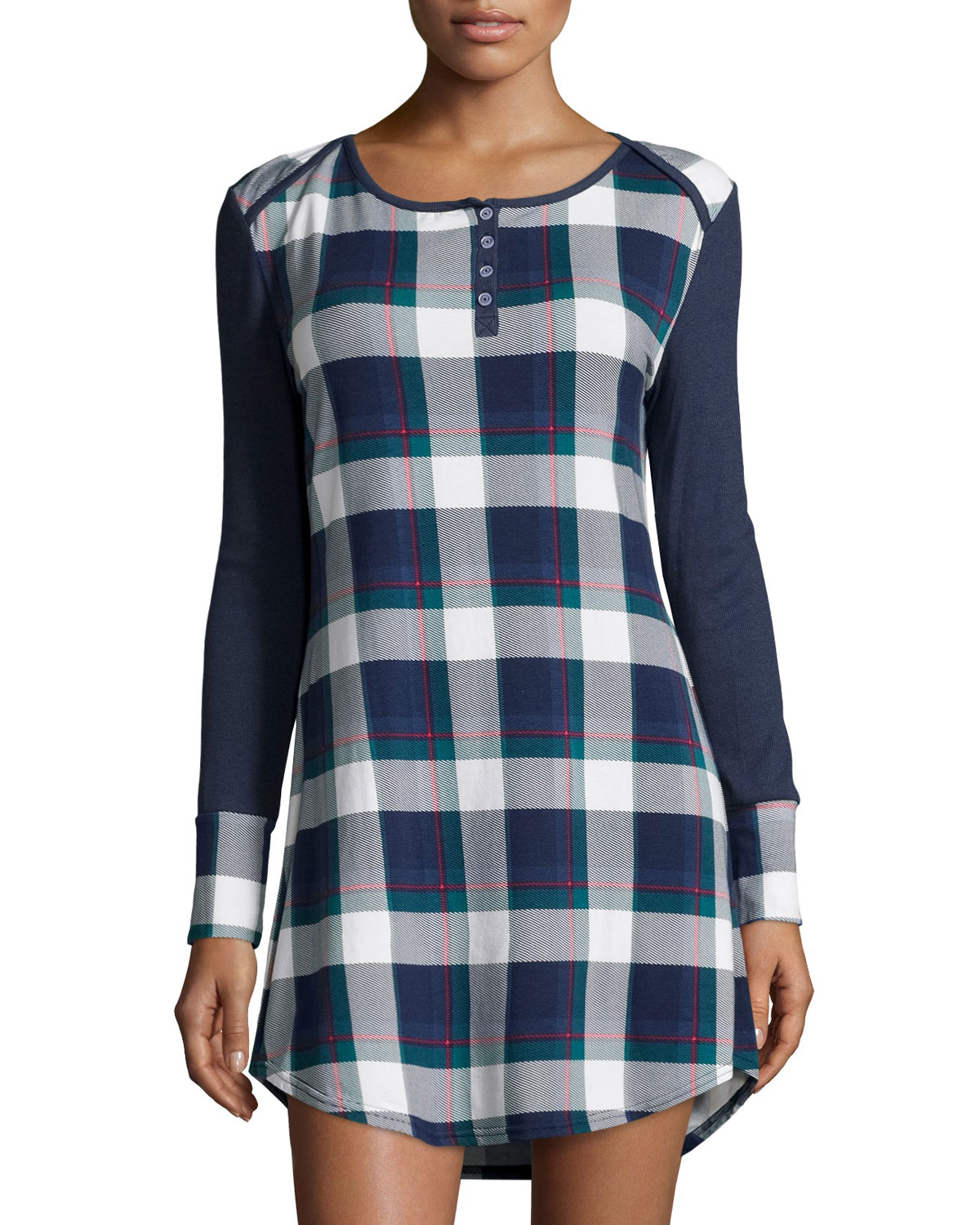 Splendid long sleeve plaid sleep shirt in blue lyst Long cotton sleep shirts