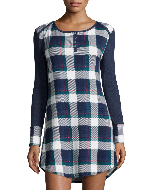 Splendid Long Sleeve Plaid Sleep Shirt In Blue Lyst: long cotton sleep shirts