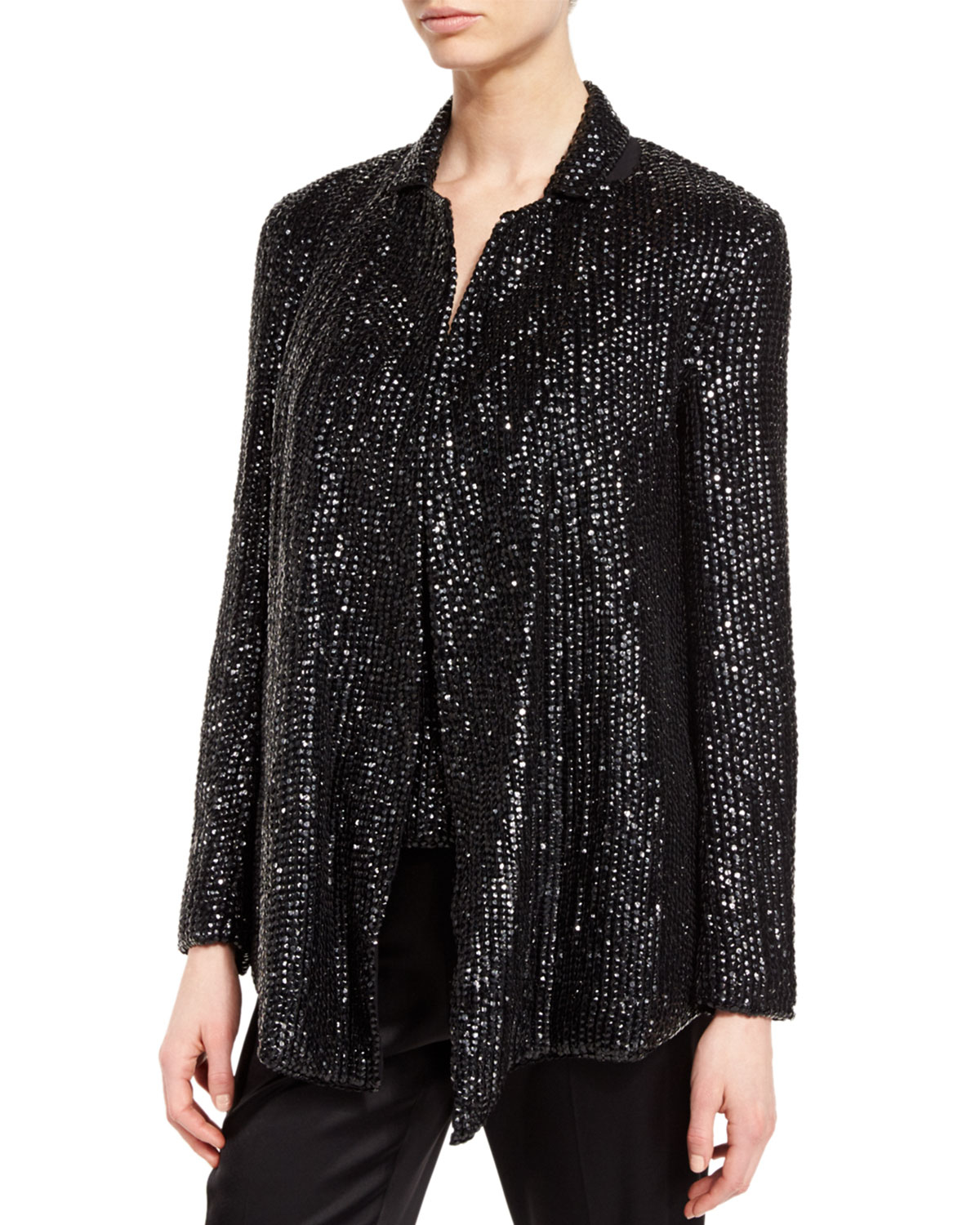 Escada Eve Sequined Open Front Jacket In Black Lyst