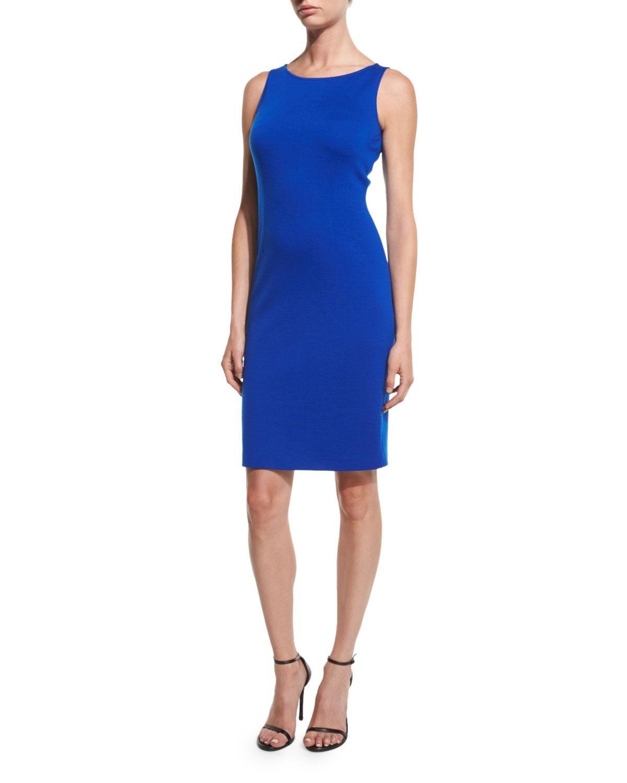 St John Milano Bateau Neck Sheath Dress In Blue Lyst