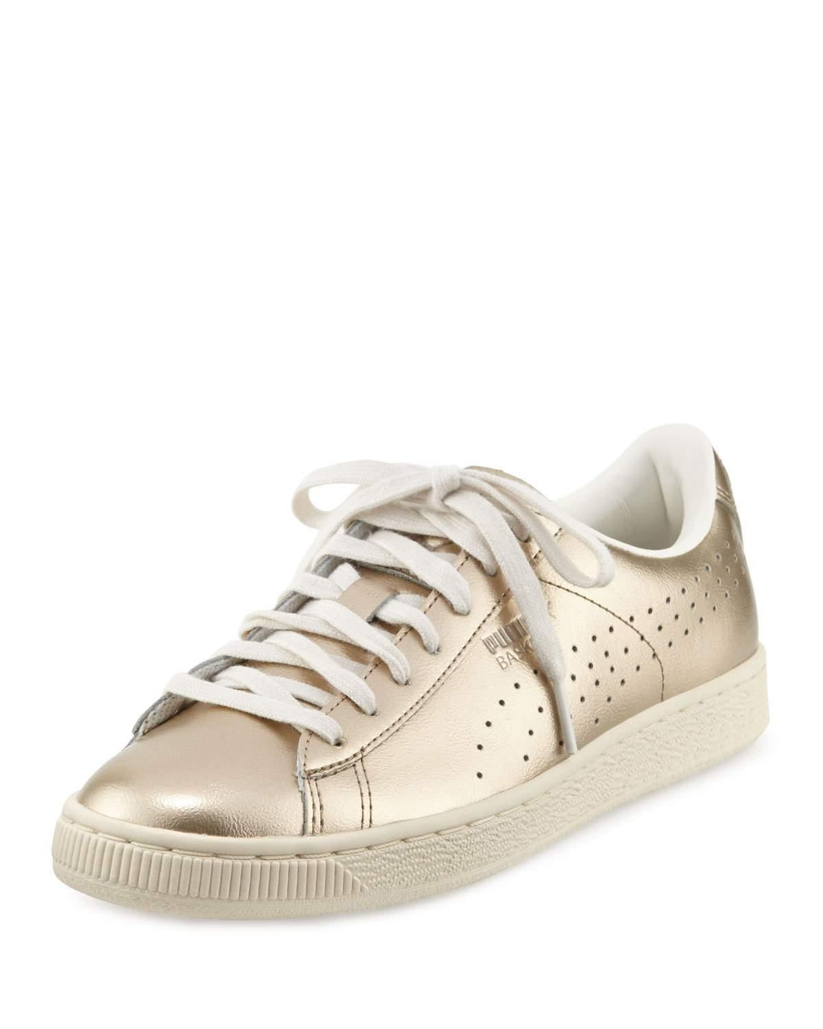 Puma Metallic Leather Low-Top Sneakers