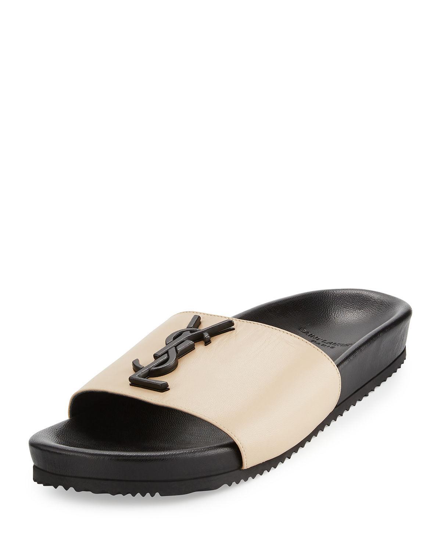 Lyst Saint Laurent Joan Ysl Brooch Slide Sandal In Natural