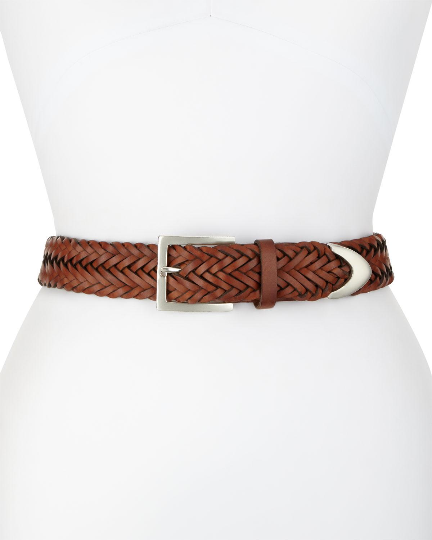 rag bone braided leather belt in brown lyst