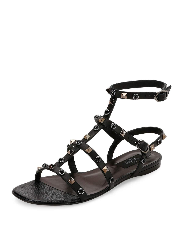 Valentino Rockstud Rolling Leather Flat Sandal In Black Lyst