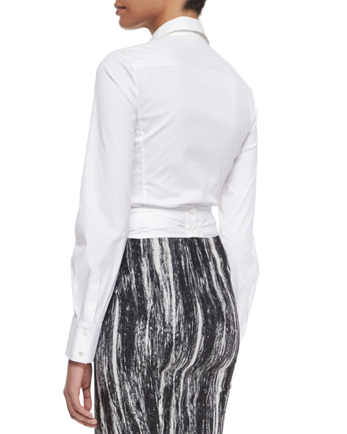 Donna Karan Long Sleeve Wrap Front Blouse In White Lyst