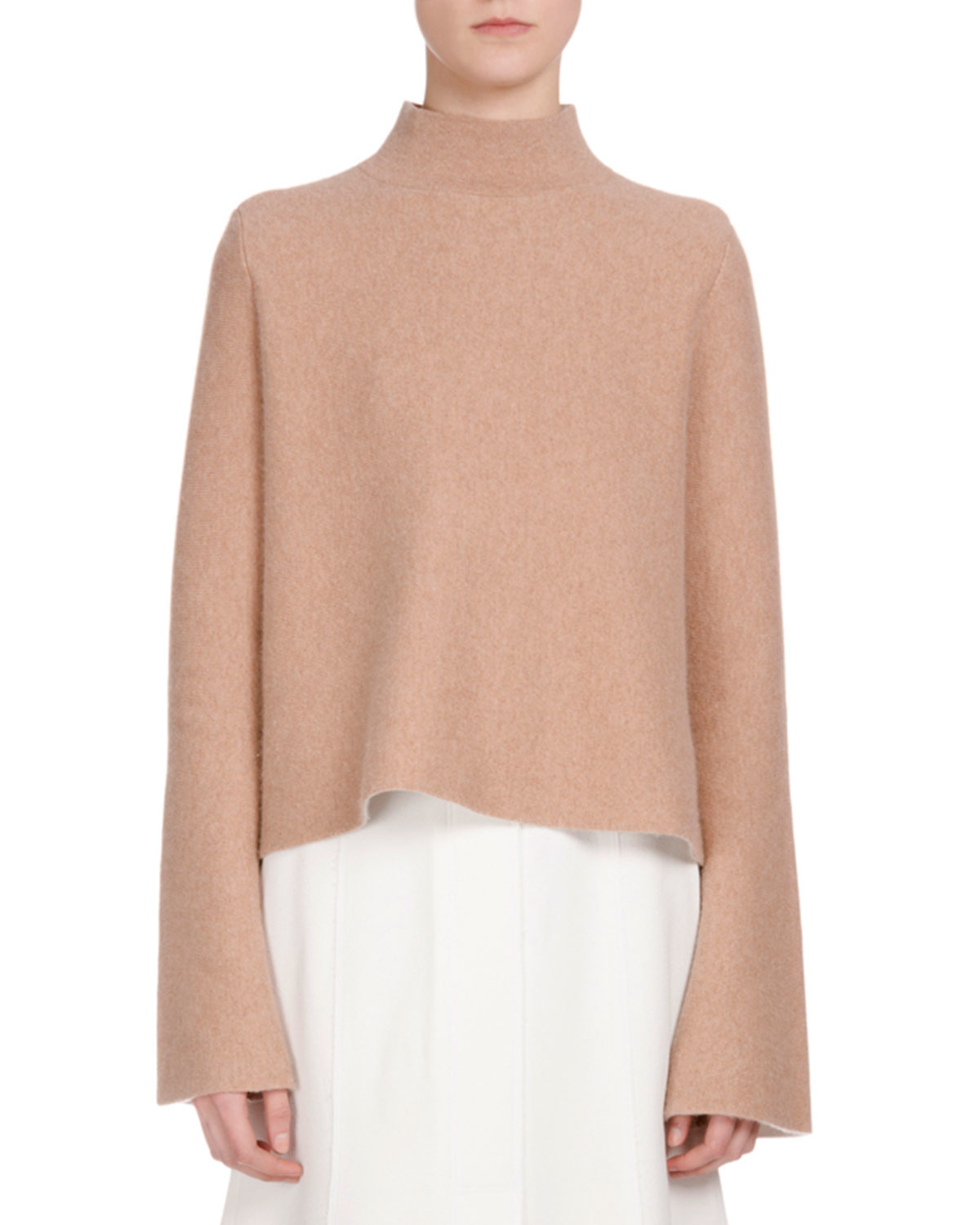 Neck Cashmere Sweater In Camel 163
