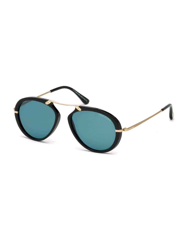 d766fed55353 Lyst - Tom Ford Aaron Trimmed Aviator Sunglasses in Black for Men
