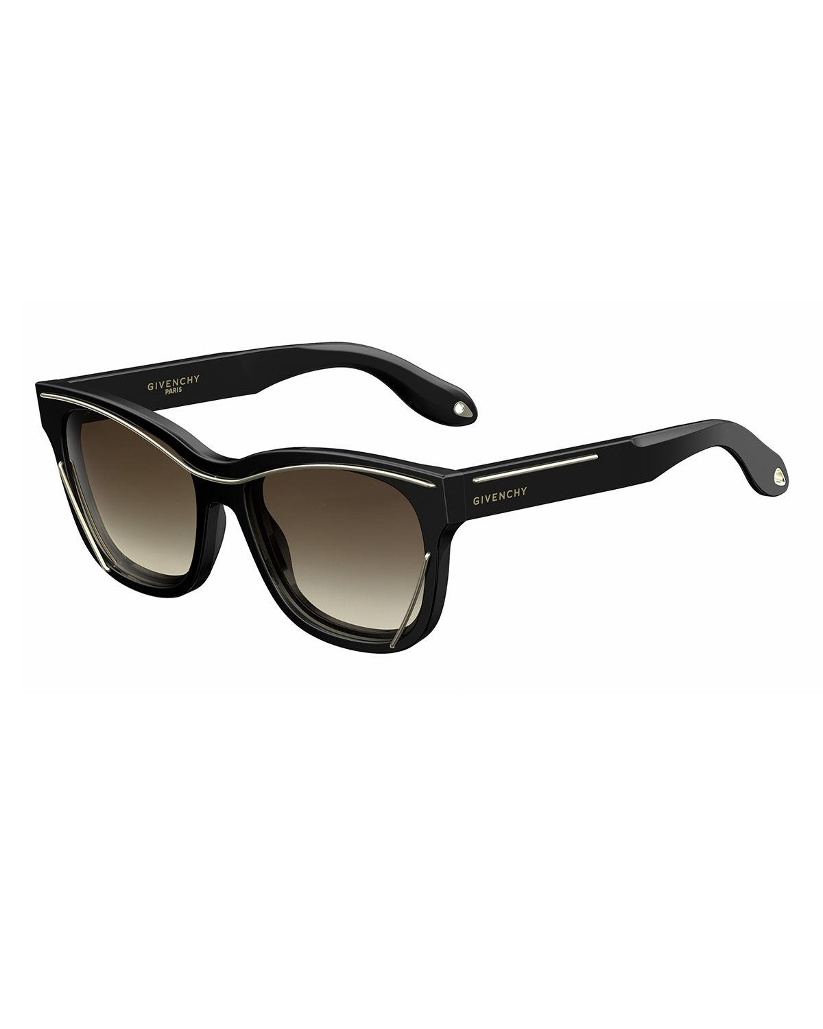 Lyst Givenchy Square Metal Trim Sunglasses In Black