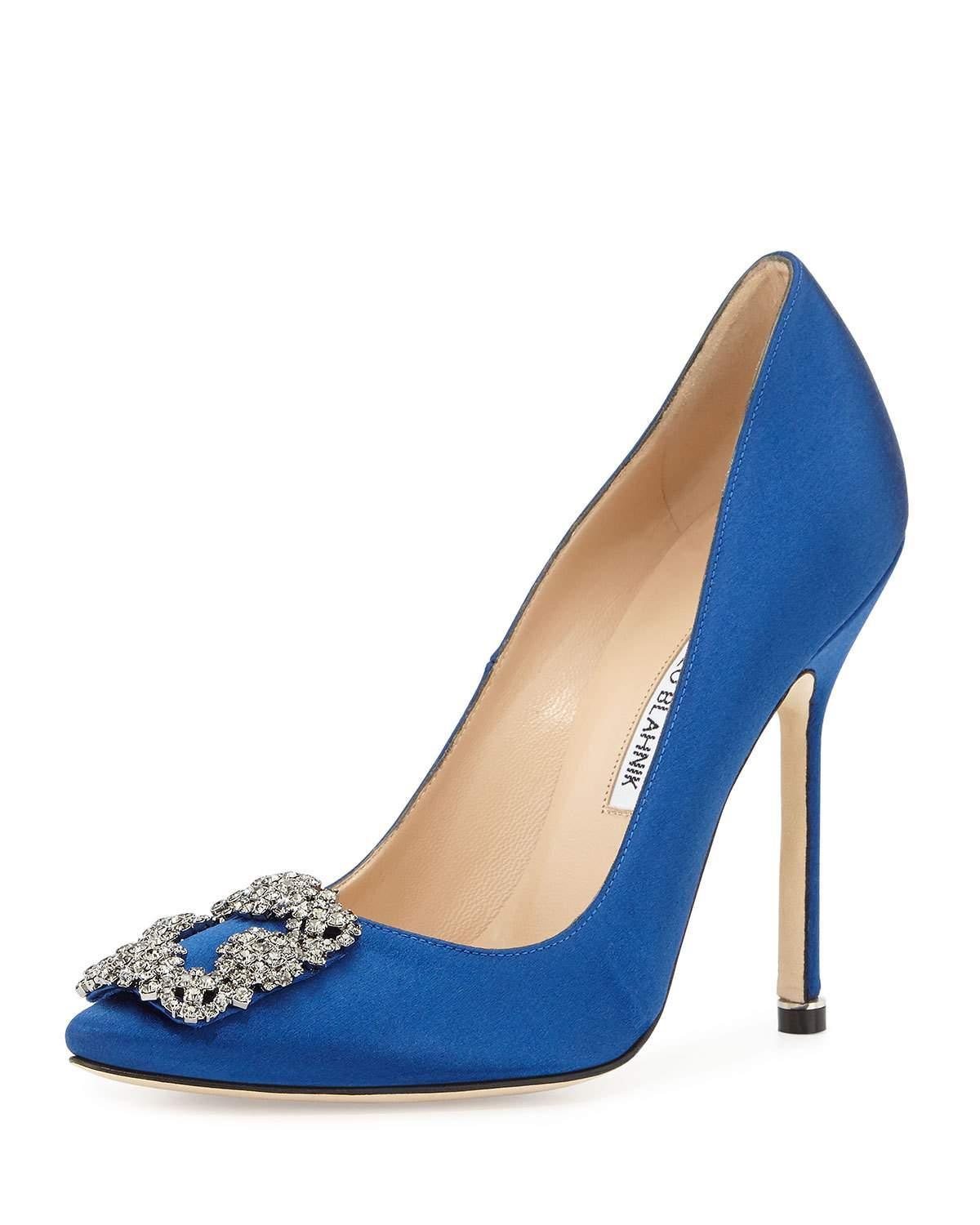 Manolo blahnik Hangisi Crystal-buckle Satin 115mm Pump in ...