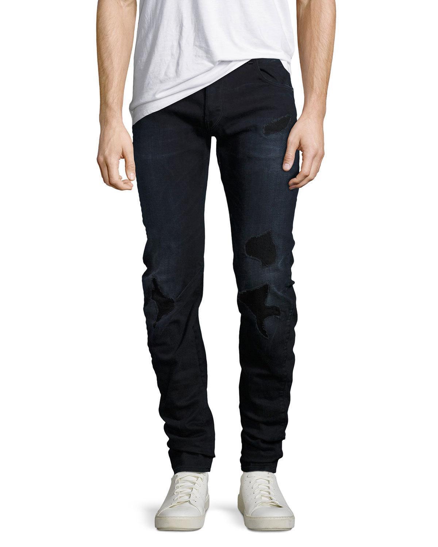 g star raw arc 3d distressed slim jeans in black for men. Black Bedroom Furniture Sets. Home Design Ideas