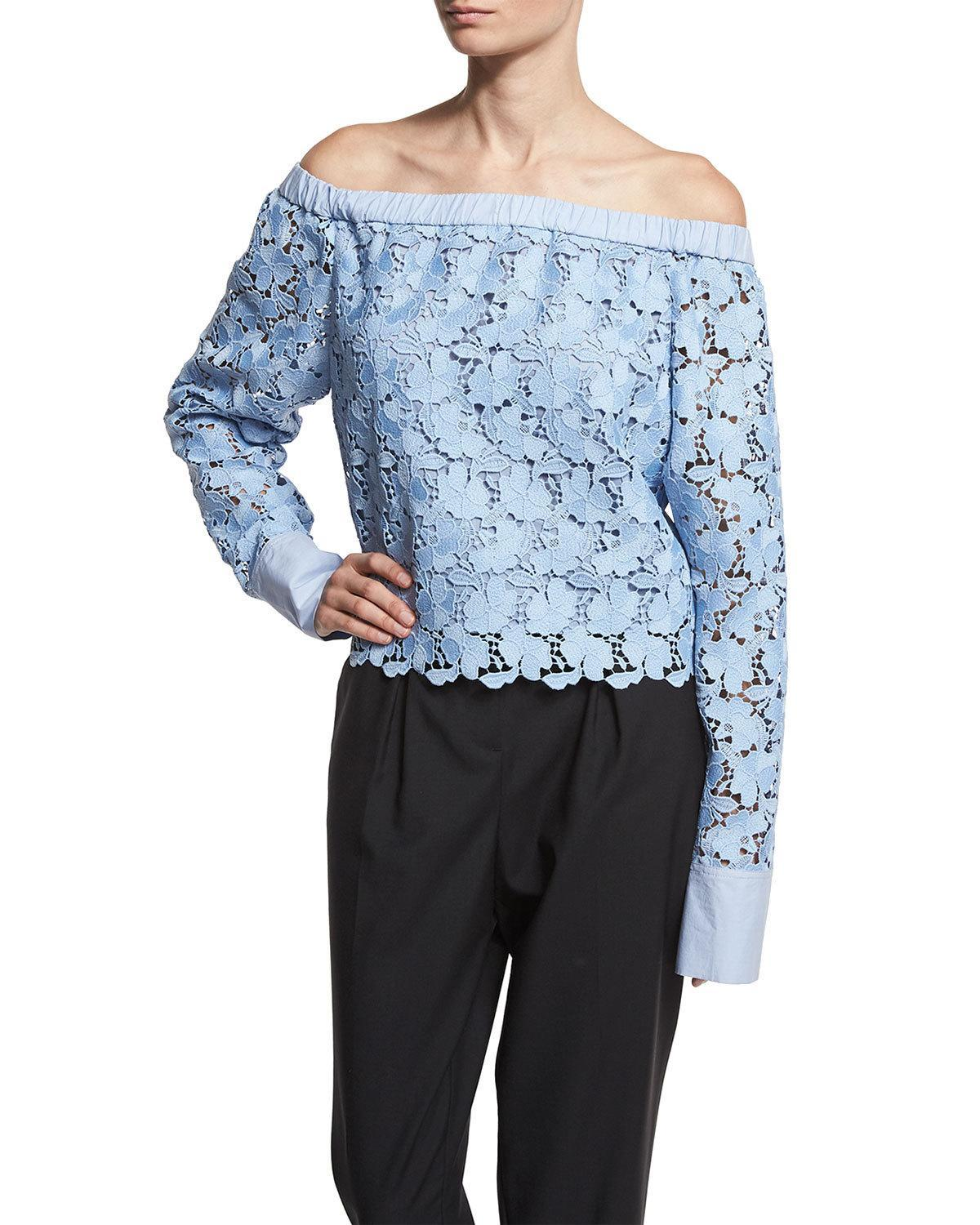 Robert Rodriguez: Robert Rodriguez Lace Off-the-shoulder Long-sleeve Top In