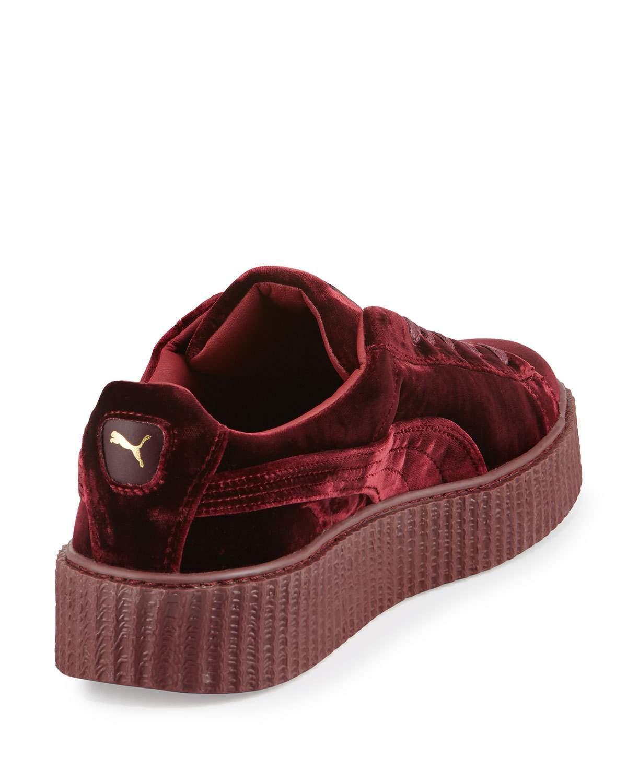 new style cd358 11935 Red Men's Velvet Creeper Sneakers