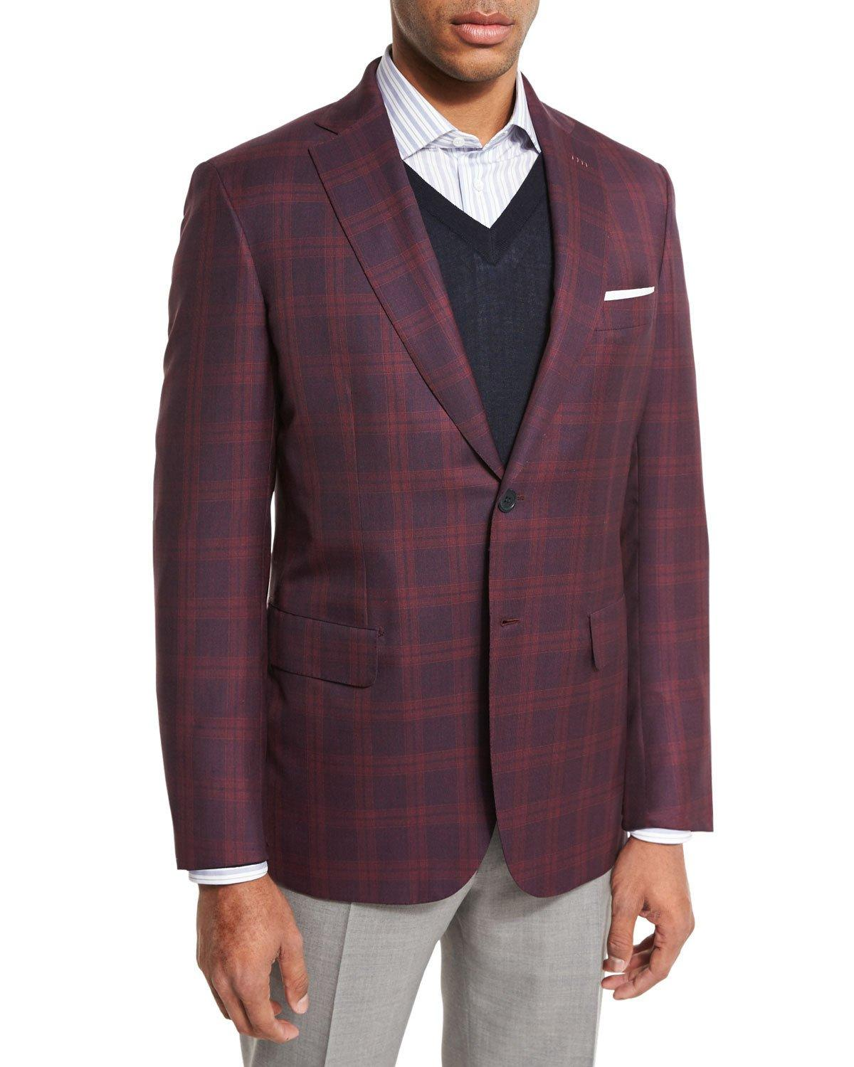 Brioni Plaid Two-button Sport Coat in Red for Men