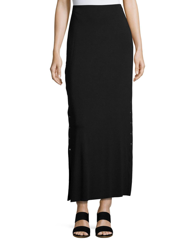 bailey 44 cain splice side snap maxi skirt in black lyst