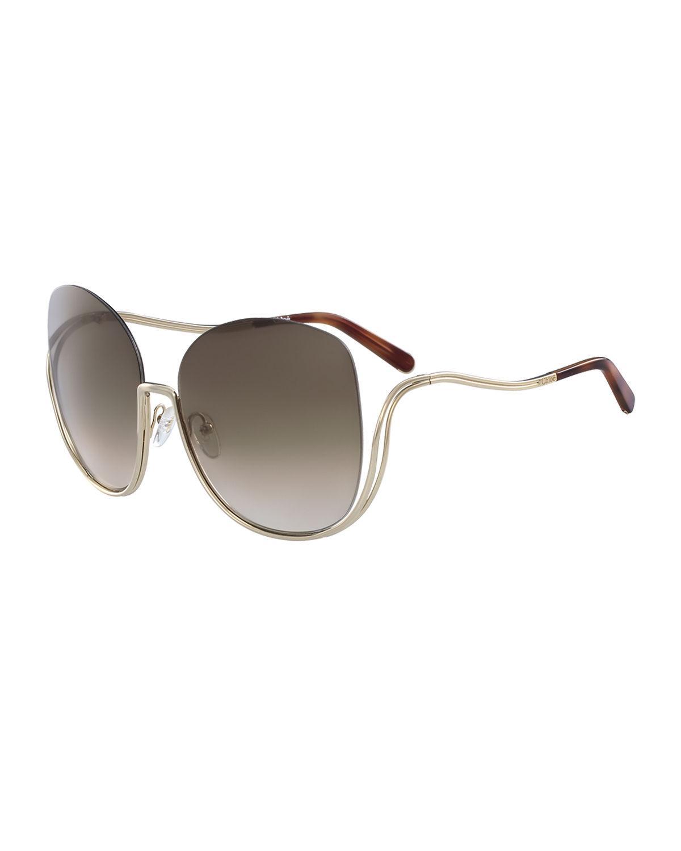 Chloe Gold Frame Sunglasses : Chloe Milla Square Semi-rimless Sunglasses in Metallic Lyst