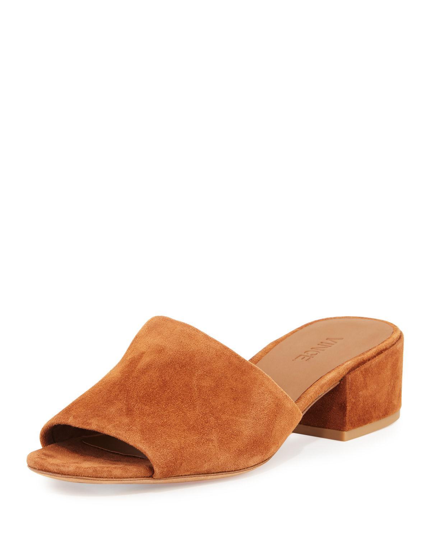 Vince Rachelle 2 Suede Block Heel Mule Sandal In Brown Lyst