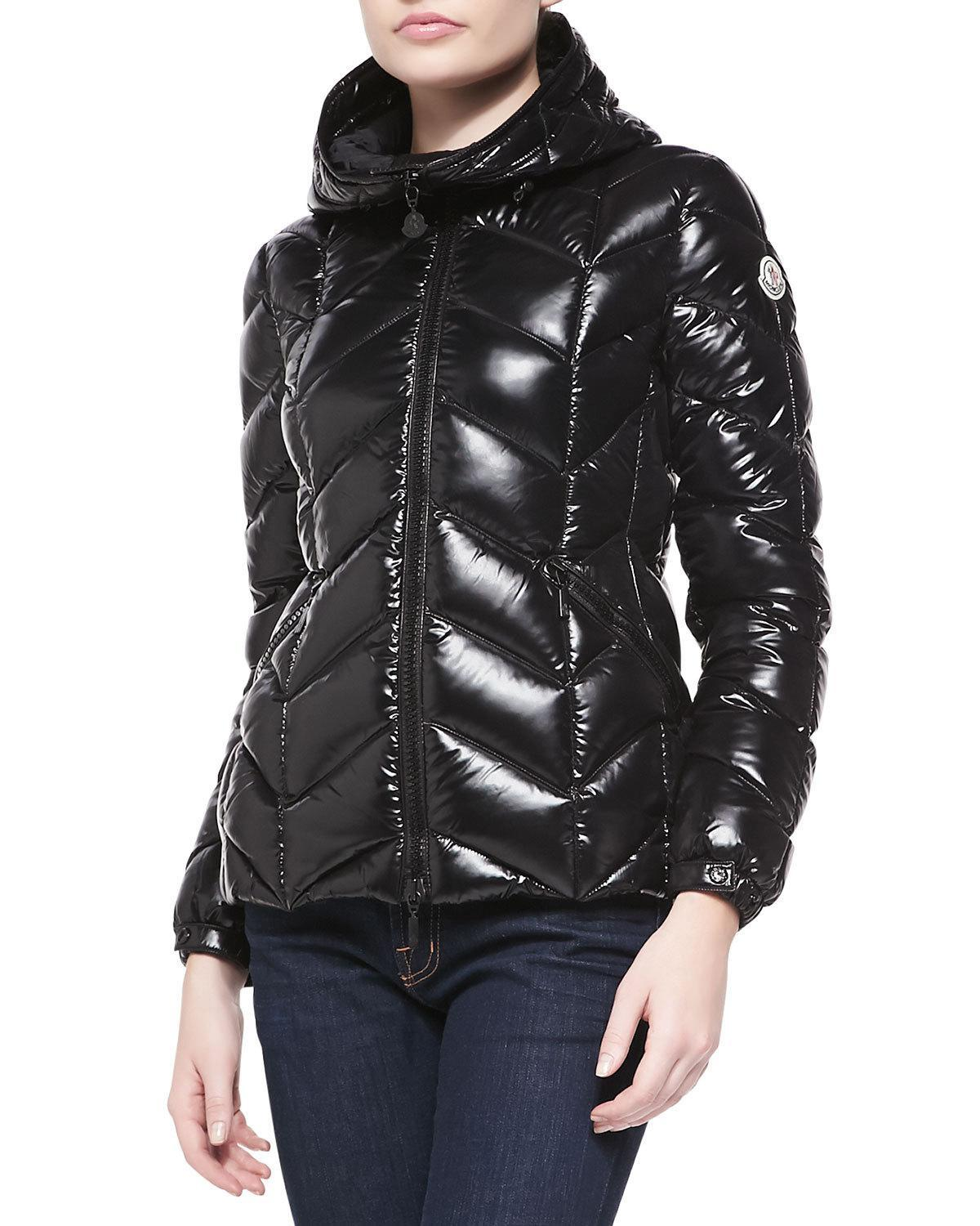 Moncler Shiny Chevron Quilted Short Jacket In Black Lyst