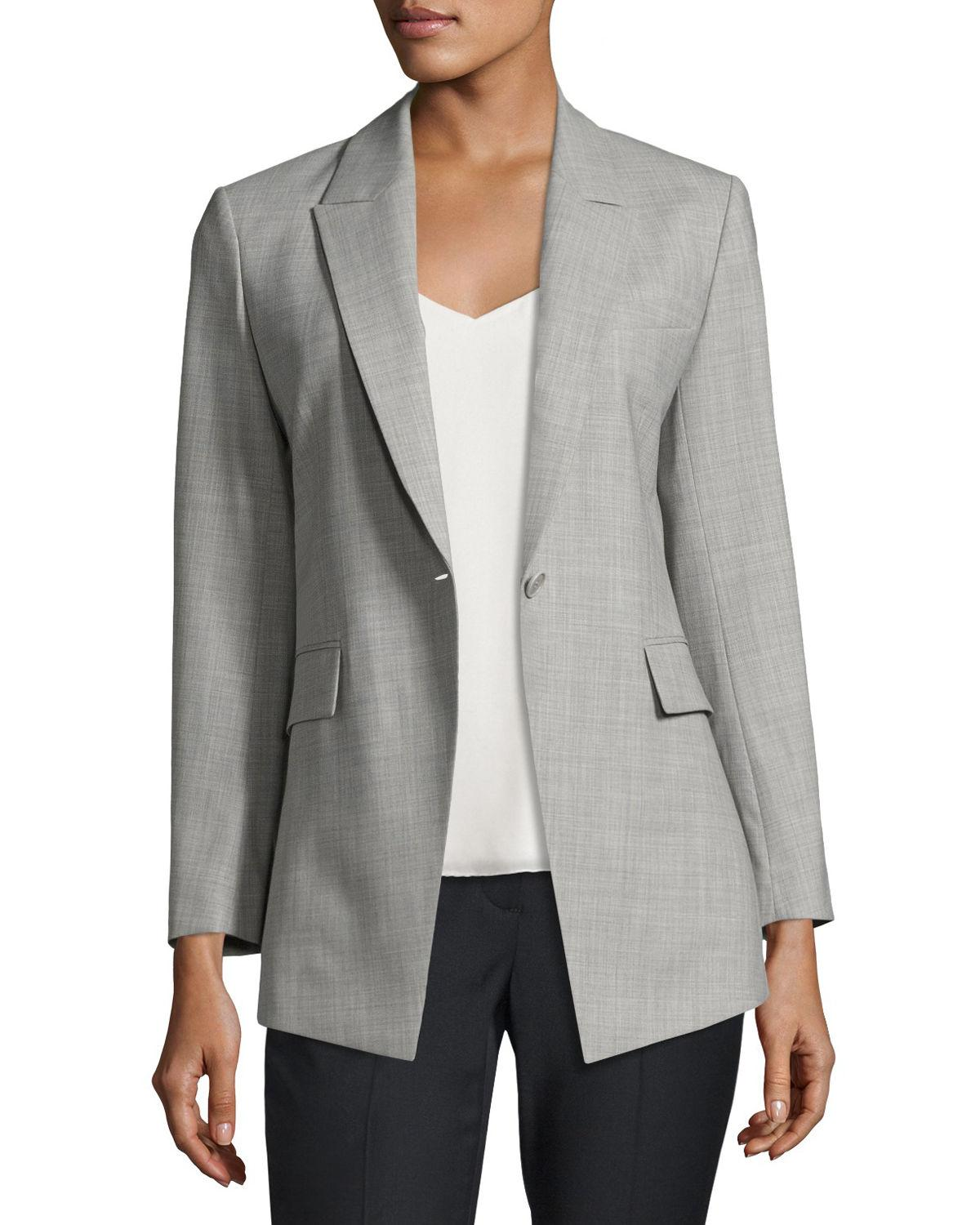 eaeb23bcac Theory Etiennette Continuous Long-line Blazer in Gray - Lyst