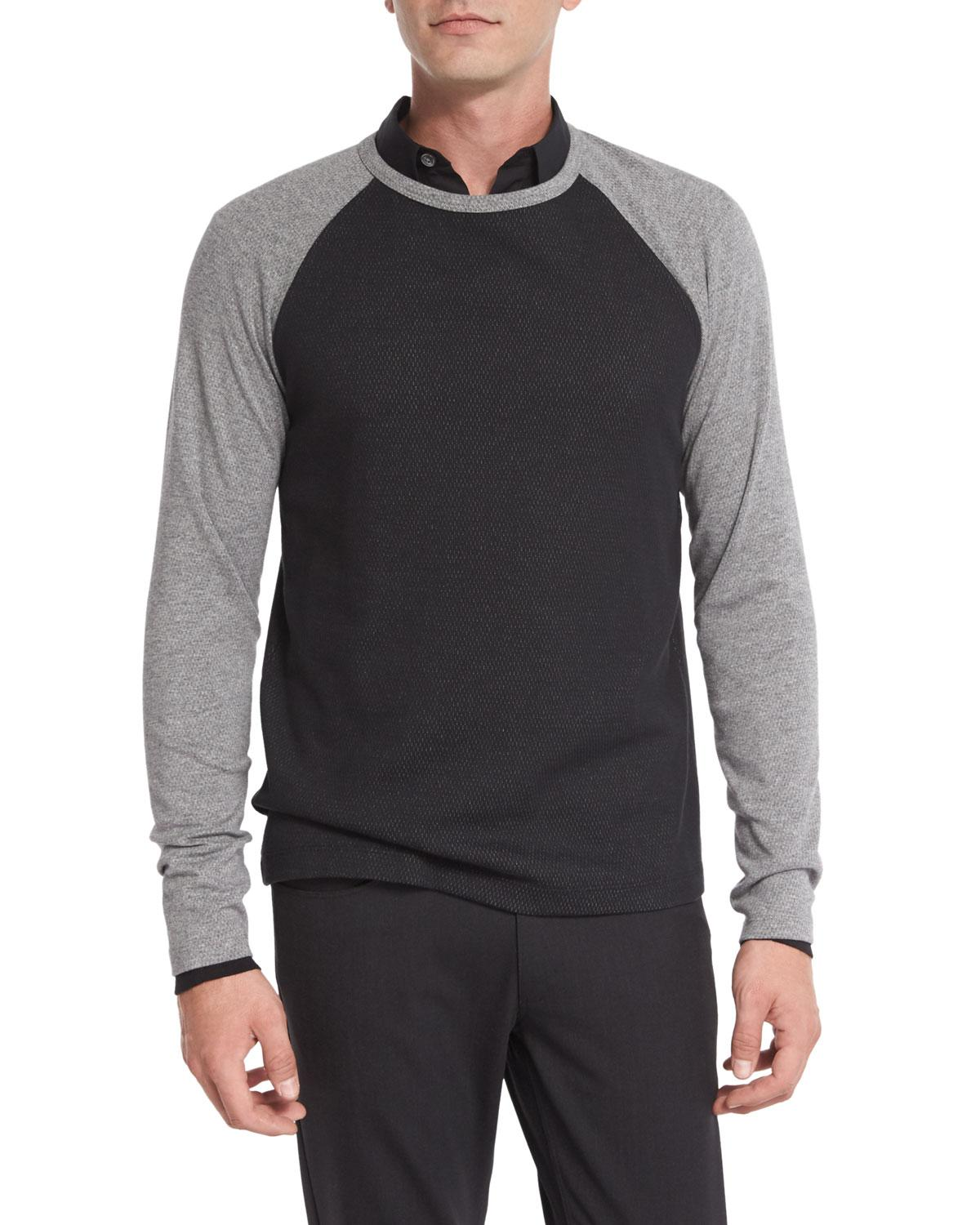 Lyst theory colorblock thermal baseball t shirt in black for Mens black thermal t shirts
