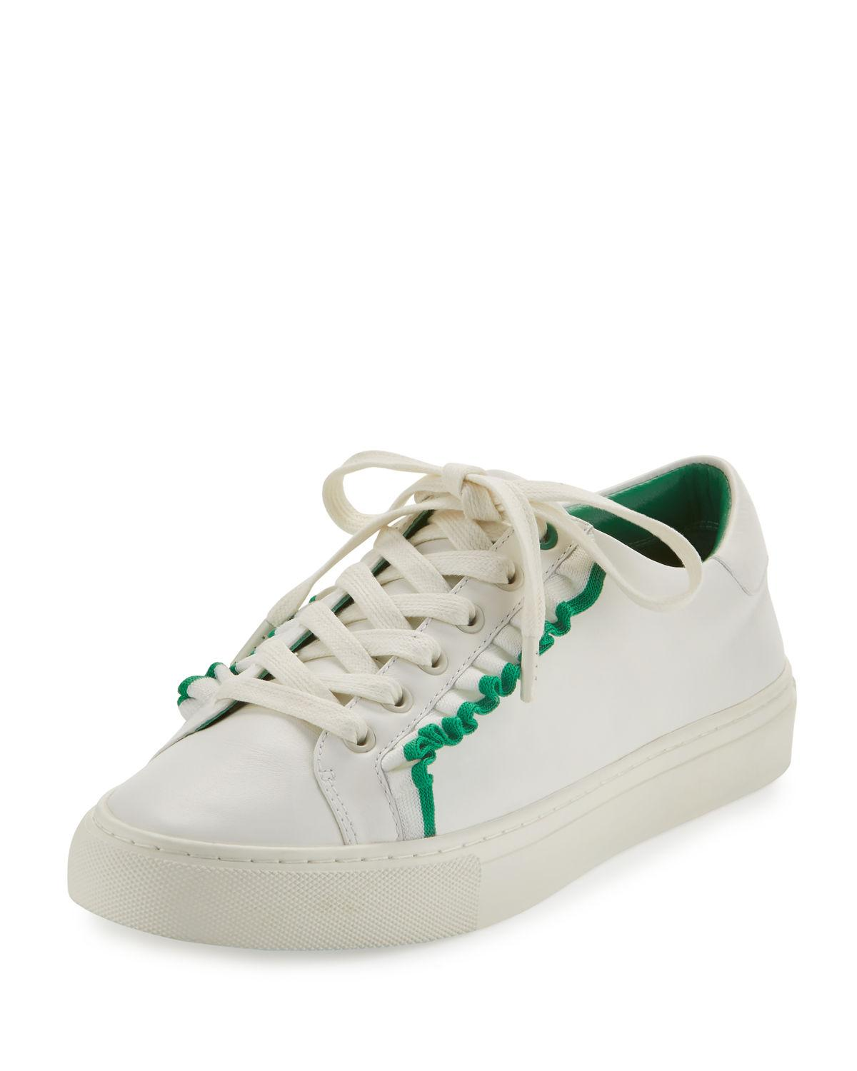 Tory Burch Ruffle Leather Low Top Sneaker In White Lyst