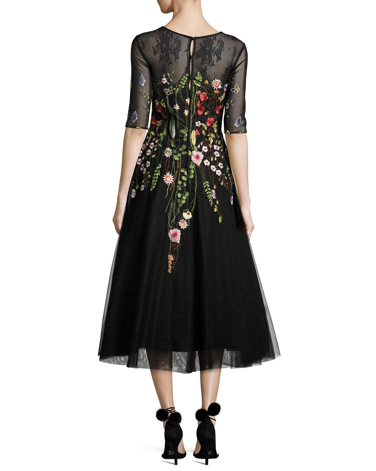 Lyst Teri Jon Embroidered Tulle Cocktail Dress In Black