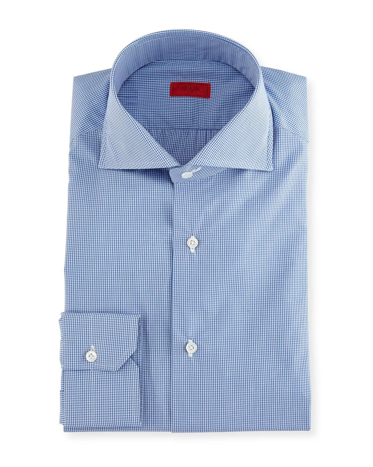 Isaia slim fit gingham check dress shirt in blue for men for Slim fit gingham check shirt