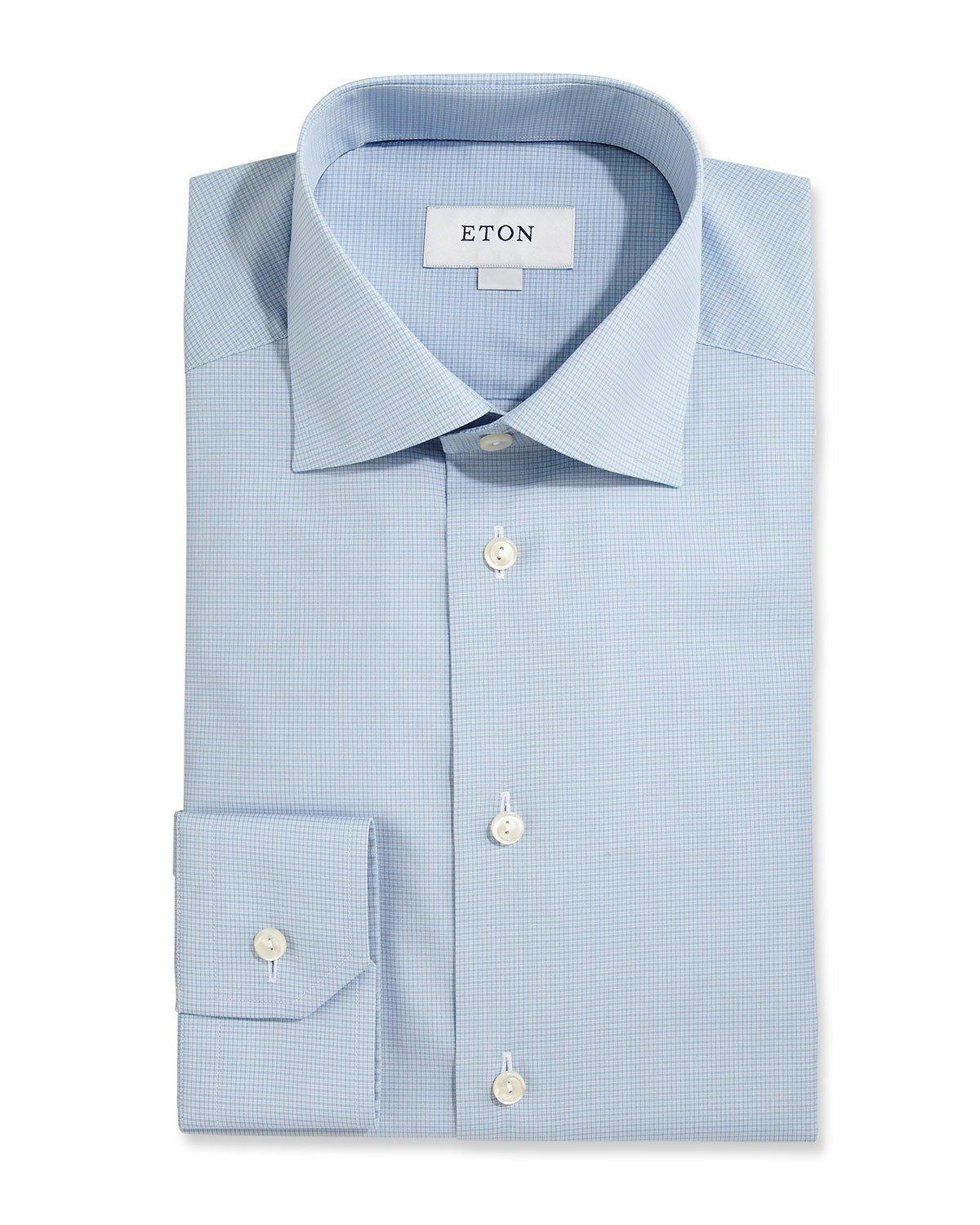 Eton Of Sweden Slim Fit Textured Check Dress Shirt In Blue