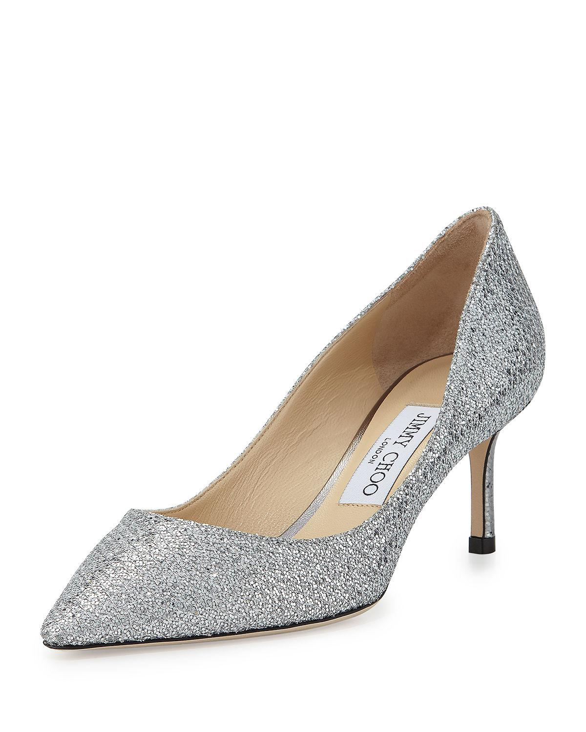 Silver Sparkly Slip On Shoes
