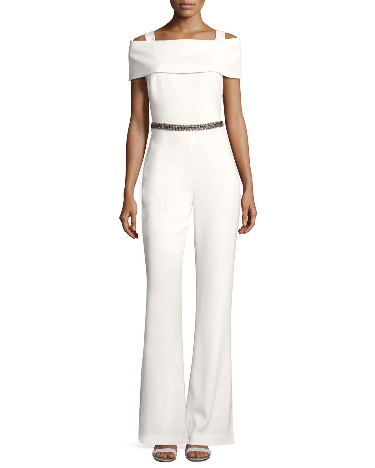 Badgley mischka embellished cold shoulder jumpsuit in - Jumpsuit zur hochzeit ...